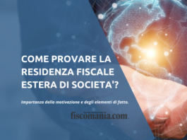 Prova della residenza fiscale società