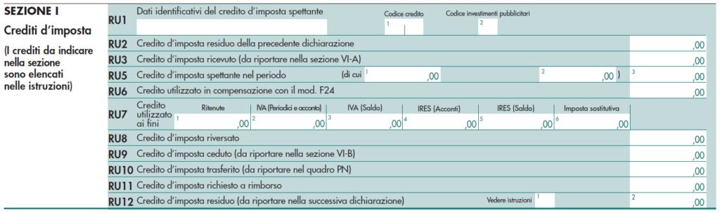 Quadro RU corrispettivi telematici