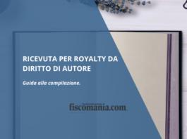 Ricevuta per royalty da diritto di autore