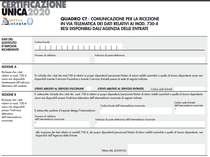 quadro CT della certificazione unica