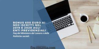 Bonus 600 euro ai neo