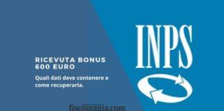 Ricevuta bonus 600 euro