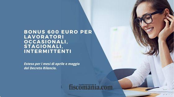 Bonus 600 euro per lavoratori occasionali