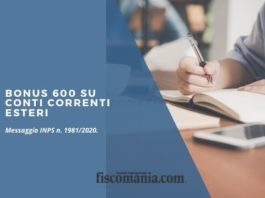 Bonus 600 euro su conti