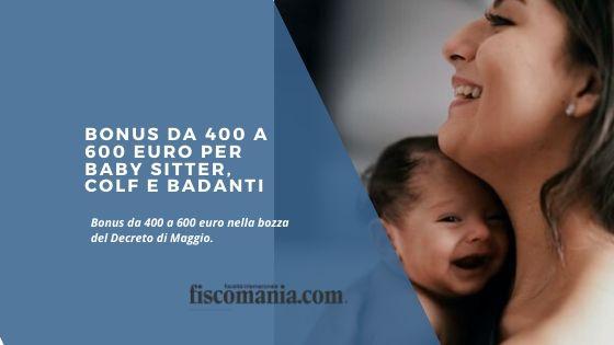 Bonus da 400 a 600 euro