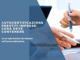 Autocertificazione prestiti imprese