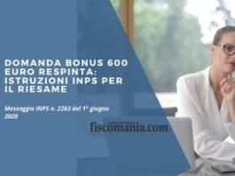 Domanda bonus 600 euro respinta