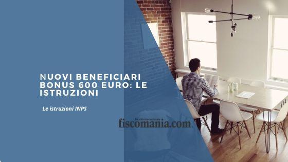 Nuovi beneficiari Bonus 600 euro