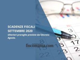 Scadenze fiscali settembre 2020